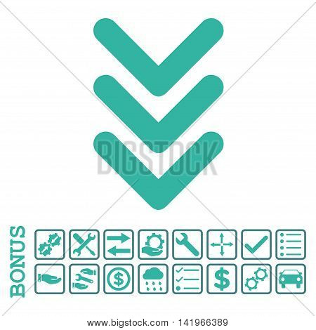 Triple Arrowhead Down icon with bonus pictograms. Vector style is flat iconic symbol, cobalt and cyan colors, white background. Bonus style is bicolor square rounded frames with symbols inside.