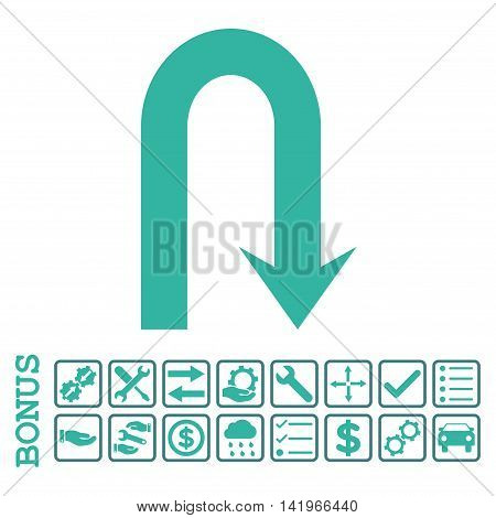 Turn Back icon with bonus pictograms. Vector style is flat iconic symbol, cobalt and cyan colors, white background. Bonus style is bicolor square rounded frames with symbols inside.