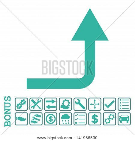 Turn Forward icon with bonus pictograms. Vector style is flat iconic symbol, cobalt and cyan colors, white background. Bonus style is bicolor square rounded frames with symbols inside.