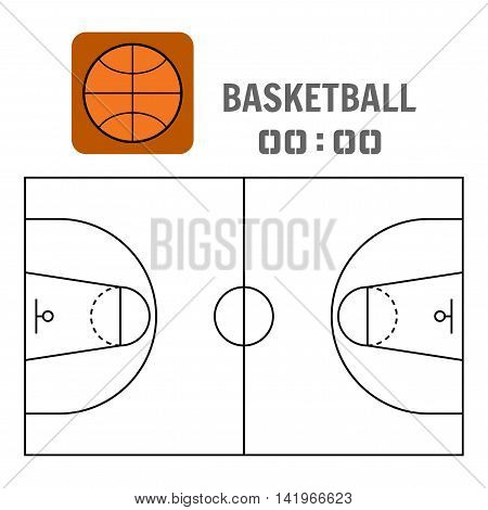 Basketball court and the plan field. Sports ball, flat icon. Vector illustration
