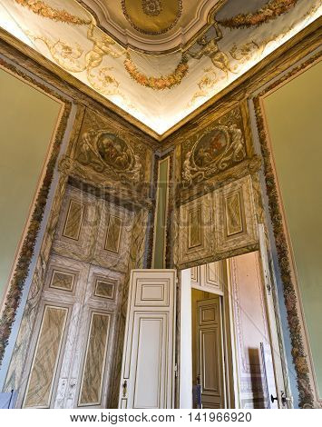 QUELUZ, PORTUGAL - October 26, 2015: Detail of the walls doors and ceiling at the National Palace of Queluz on October 26, 2015 in Queluz, Portugal
