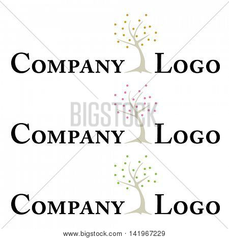 Company logo template with minimalistic stylized tree, three color versions