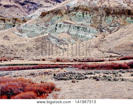 Beautiful geological exposed on a cliff on a nice drive on an Eastern Oregon Backroad.