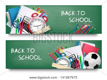 Back to school.Two banners with different supplies. Vector
