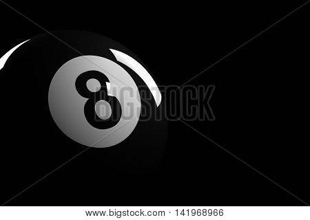 Pool Ball Number 8, 3D Rendering