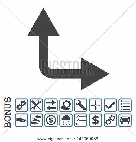 Bifurcation Arrow Right Up icon with bonus pictograms. Vector style is flat iconic symbol, cobalt and gray colors, white background. Bonus style is bicolor square rounded frames with symbols inside.
