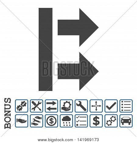 Bring Right icon with bonus pictograms. Vector style is flat iconic symbol, cobalt and gray colors, white background. Bonus style is bicolor square rounded frames with symbols inside.