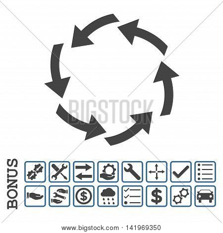 Circulation icon with bonus pictograms. Vector style is flat iconic symbol, cobalt and gray colors, white background. Bonus style is bicolor square rounded frames with symbols inside.