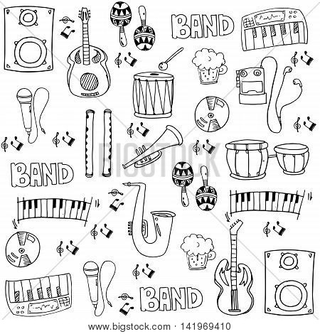 Doodle of stock collection music theme vector art