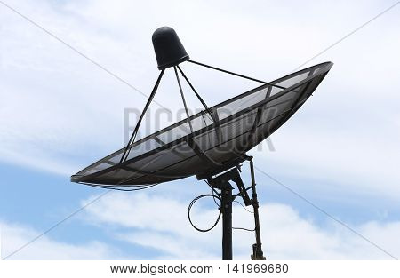 Satellite dish and Clouds on the Blue sky in concept of Communications.
