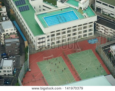 People playing soccer and synchronized swimming from above