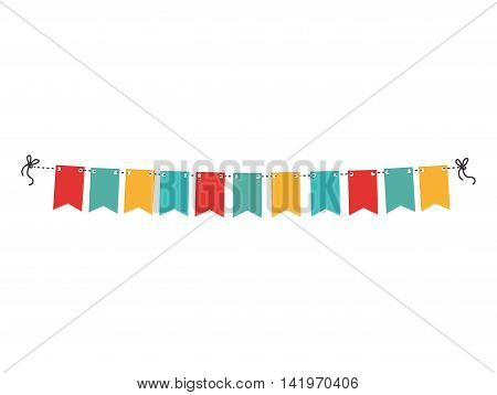 pennants decoration party isolated icon flat design