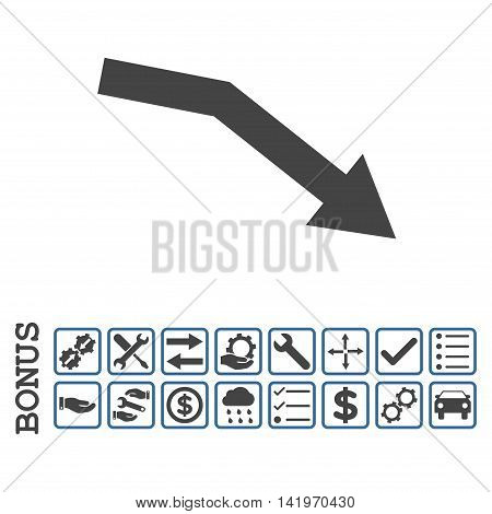 Fail Trend icon with bonus pictograms. Vector style is flat iconic symbol, cobalt and gray colors, white background. Bonus style is bicolor square rounded frames with symbols inside.