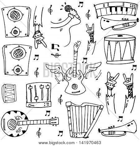 Doodle of hand draw stock music theme vector illustration