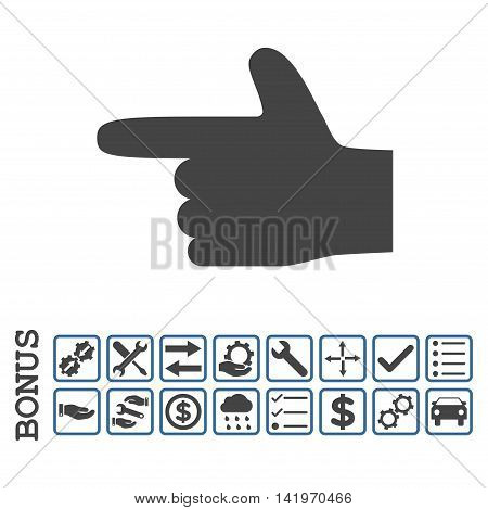 Hand Pointer Left icon with bonus pictograms. Vector style is flat iconic symbol, cobalt and gray colors, white background. Bonus style is bicolor square rounded frames with symbols inside.