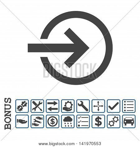 Import icon with bonus pictograms. Vector style is flat iconic symbol, cobalt and gray colors, white background. Bonus style is bicolor square rounded frames with symbols inside.