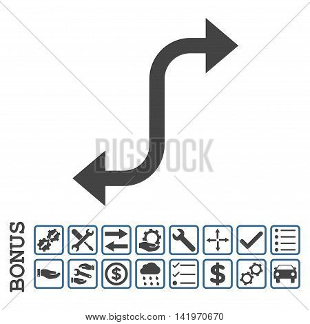 Opposite Bend Arrow icon with bonus pictograms. Vector style is flat iconic symbol, cobalt and gray colors, white background. Bonus style is bicolor square rounded frames with symbols inside.