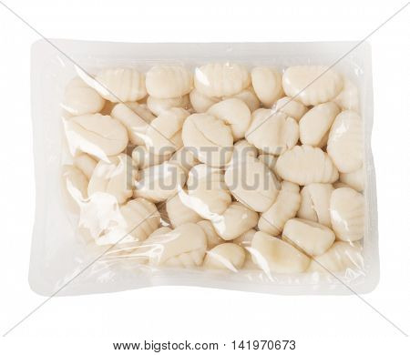 Uncooked Fresh Gnocchi Package isolated on white background