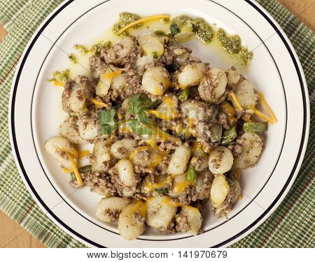 Potato gnocchi, Italian potato dumplings with ground beef ,green beans and cheese