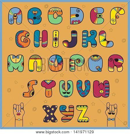 Hipster Alphabet. Funny vintage font. Varicoloured. Bright
