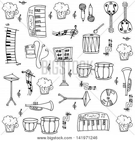 Doodle of music theme stock vector collection illustration