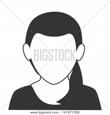 woman profile face isolated flat icon design