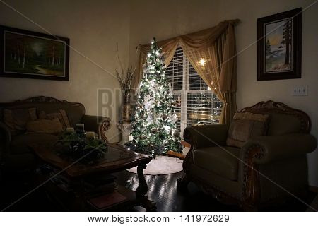 JOLIET, ILLINOIS / UNITED STATES - NOVEMBER 29, 2015: A Christmas tree stands next to a window in the living room of a home in Joliet.