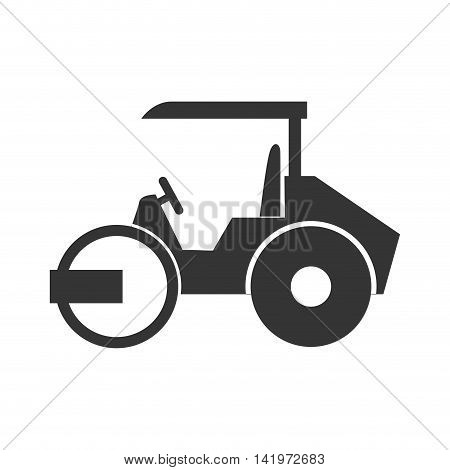steamroller truck construction machinery vector graphic isolated and flat illustration
