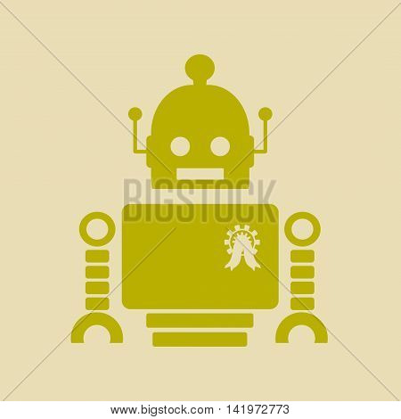 Cute vintage robot. Robotics industry relative image. Cog wheel medal on chest