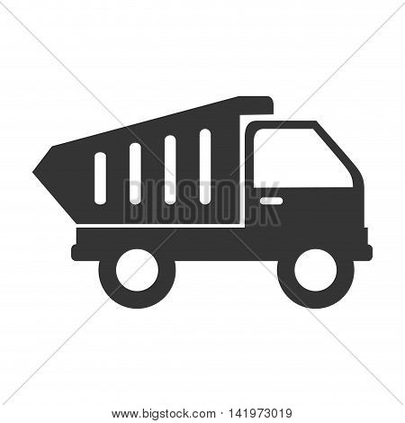 dump truck construction equipped materials industry build vector graphic isolated and flat illustration