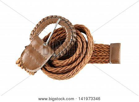 Brown leather belt fashion isolated on white background and have clipping paths.