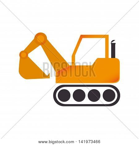 excavator construction machinery build industry truck vector graphic isolated and flat illustration