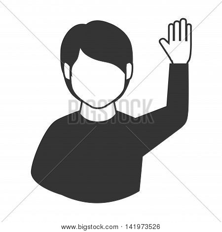 man guy hand up asking question participation  vector graphic isolated and flat illustration