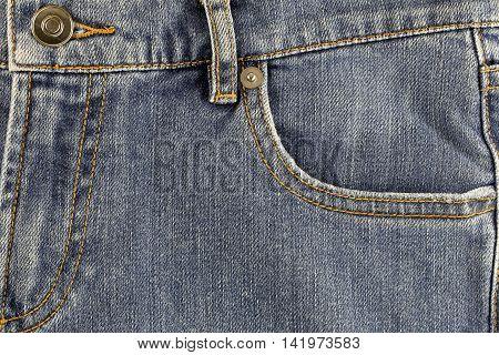 Front pocket of jeans for design Fashion background.