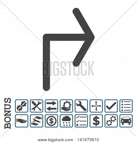 Turn Right icon with bonus pictograms. Vector style is flat iconic symbol, cobalt and gray colors, white background. Bonus style is bicolor square rounded frames with symbols inside.