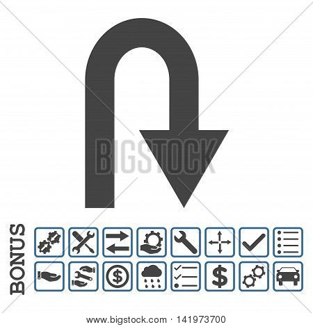 U Turn icon with bonus pictograms. Vector style is flat iconic symbol, cobalt and gray colors, white background. Bonus style is bicolor square rounded frames with symbols inside.