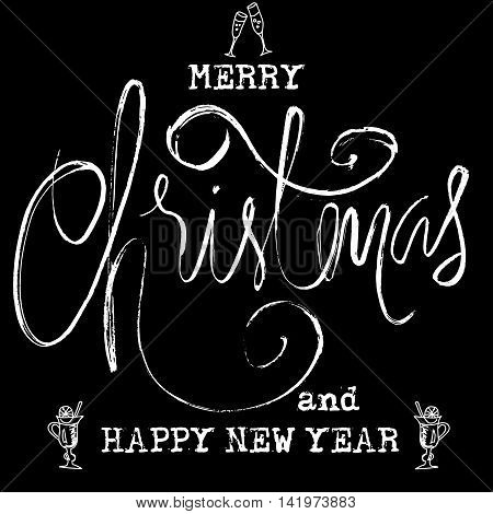 Black and White Grunge Christmas lettering. New Year Typewriter lettering. Isolated vector illustration. EPS10.