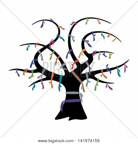Wish tree and colorful ribbons for design