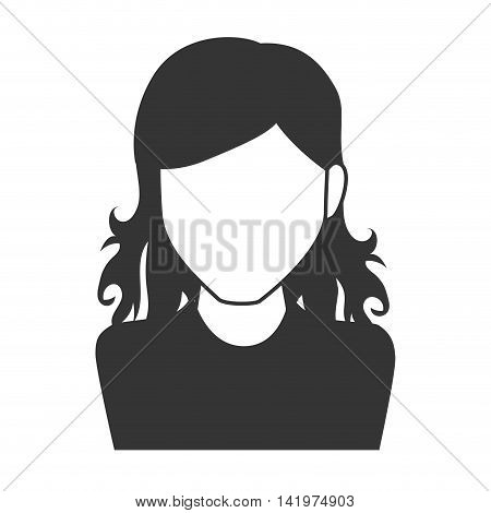 woman girl female person hair curly  face head human vector graphic isolated and flat illustration
