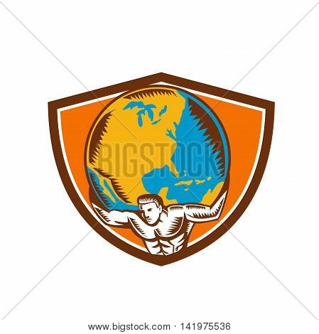 Illustration of Atlas carrying lifting globe world earth on his back set inside shield crest on isolated background done in retro woodcut style.