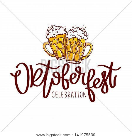 Oktoberfest Celebration. The trend calligraphy. Vector illustration on white background. Two mugs of beer. Excellent gift card. Elements for design.