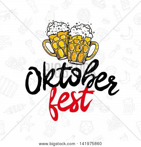 Oktoberfest. The trend calligraphy. Vector illustration on white background with beer icons. Two mugs of beer. Excellent gift card. Elements for design.