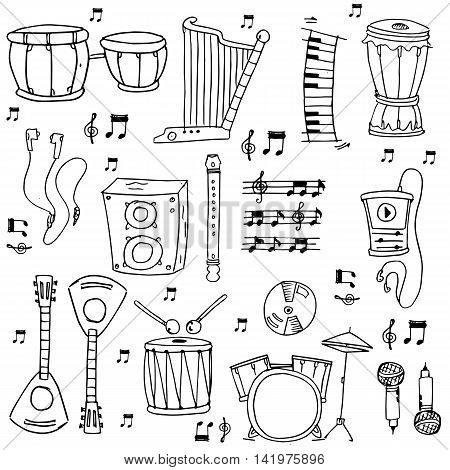 Stock music theme doodles with hand draw