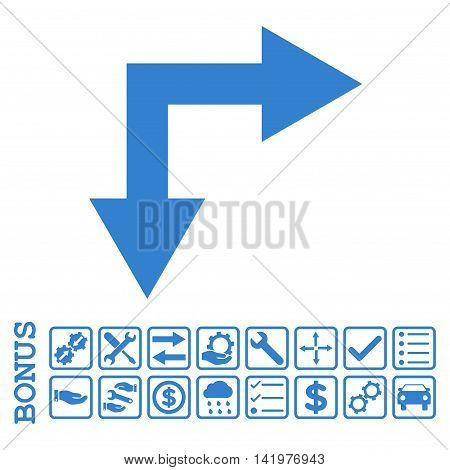 Bifurcation Arrow Right Down icon with bonus pictograms. Vector style is flat iconic symbol, cobalt color, white background. Bonus style is square rounded frames with symbols inside.
