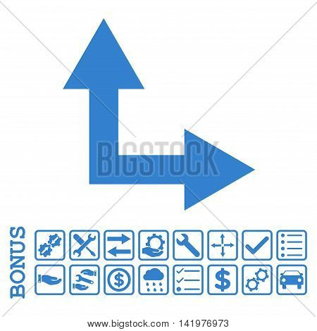 Bifurcation Arrow Right Up icon with bonus pictograms. Vector style is flat iconic symbol, cobalt color, white background. Bonus style is square rounded frames with symbols inside.