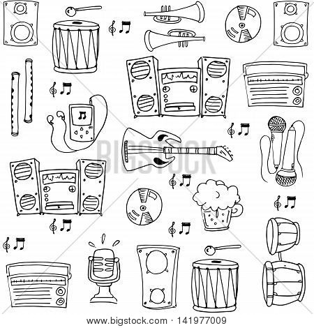 Doodle of music set hand draw stock collection