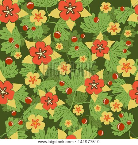 Seamless green and red summer flower vector background. Seamless color floral  pattern for wallpaper, backdrop, wrapping paper or cloth print.