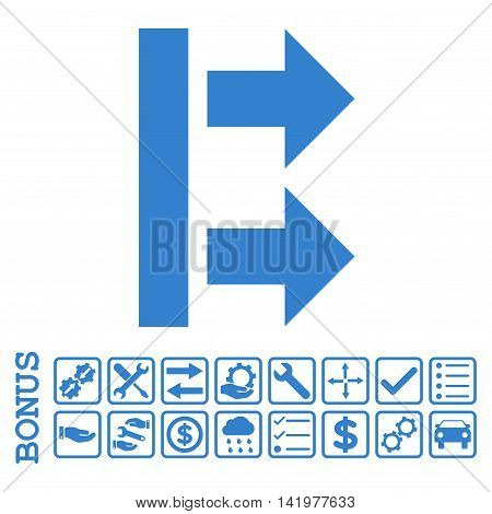 Bring Right icon with bonus pictograms. Vector style is flat iconic symbol, cobalt color, white background. Bonus style is square rounded frames with symbols inside.