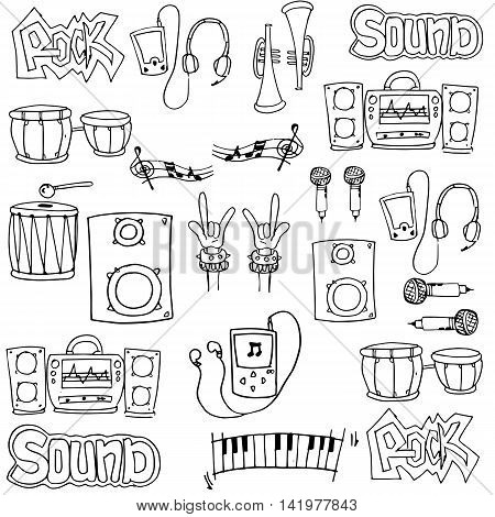 Doodle of hand draw music stock collection vector art