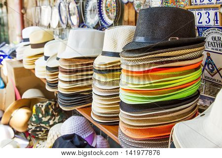 Handmade Panama Hats for sale. Panama hats for sale in a market stall .